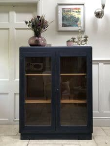 Vintage Mid Century Navy Painted China Glazed Display Drinks Cabinet Bookcase